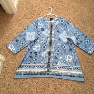 New Directions Curvy Light Blue Blouse